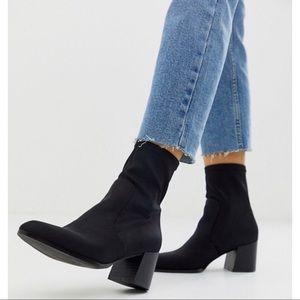 Black Faux Suede & Microfiber Sock Ankle Booties